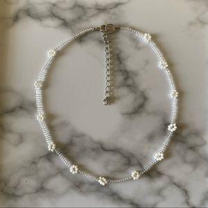 Dainty Transparent daisy choker necklace